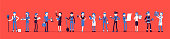 Different male, female professions and business. Working people, in occupation standing together, employee union, career. Vector illustration with faceless characters, full length