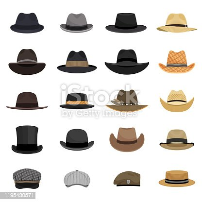 Different male hats. Fashion and vintage man hat collection vector image, derby and bowler, cowboy and peaked cap, tyrolean and summer straw hat, military beret