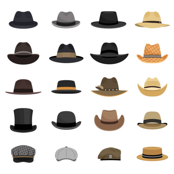 Different male hats Different male hats. Fashion and vintage man hat collection vector image, derby and bowler, cowboy and peaked cap, tyrolean and summer straw hat, military beret hat stock illustrations