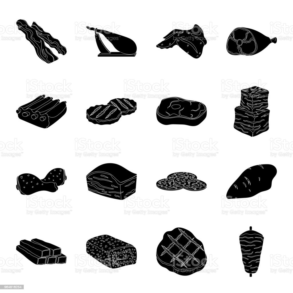 Different meat black icons in set collection for design. Meat product vector symbol stock web illustration. royalty-free different meat black icons in set collection for design meat product vector symbol stock web illustration stock vector art & more images of bacon