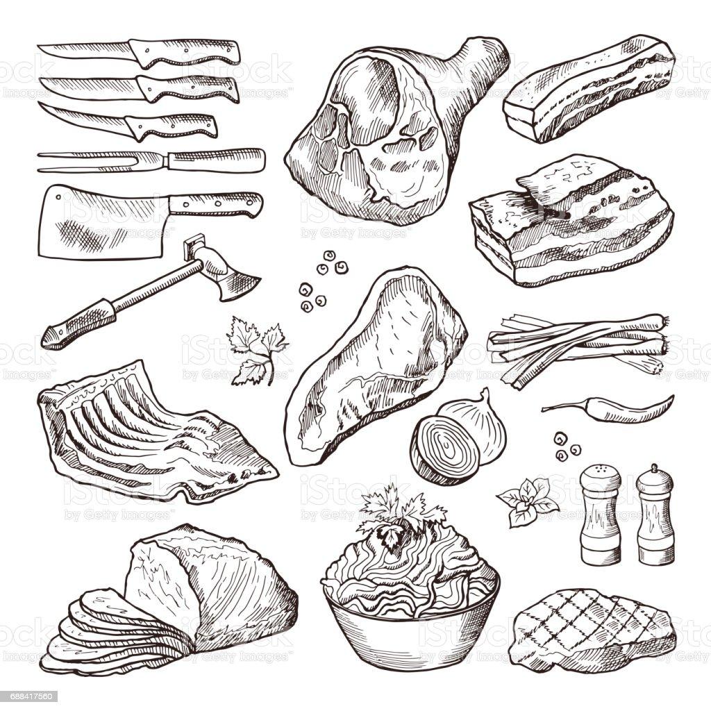 別の肉料理。豚肉、ベーコン、キッチン アクセサリー。ナイフと斧のベクトルの手描き絵 ベクターアートイラスト