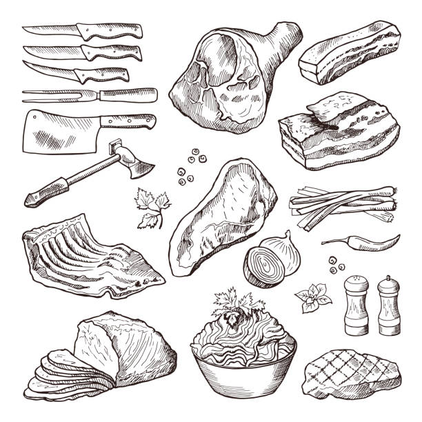 Different meat food. Pork, bacon and kitchen accessories. Knife and axe vector hand drawn picture vector art illustration