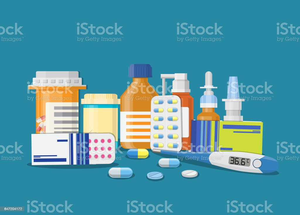 Different medical pills and bottles, vector art illustration