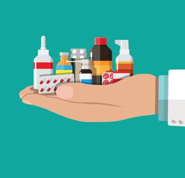 illustrazioni stock, clip art, cartoni animati e icone di tendenza di different medical pills and bottles - antibiotico