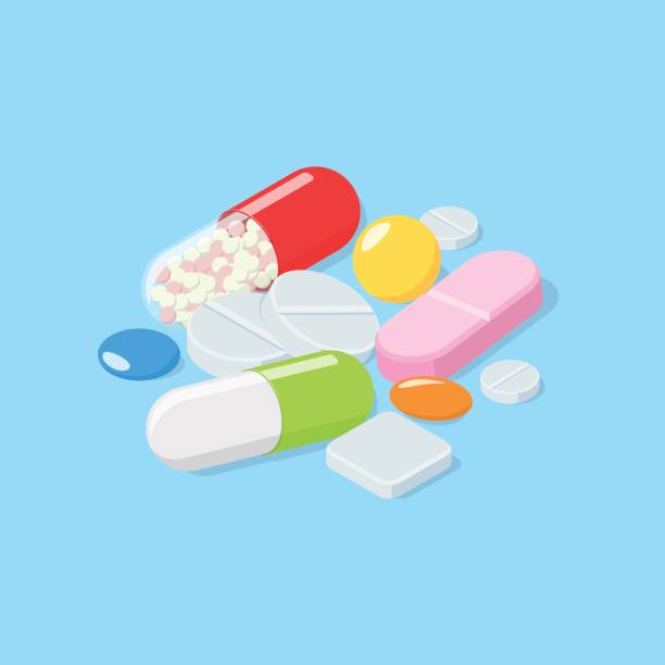 Different medical pills, tablets, capsules. Different medical pills, tablets. Isometric vector illustration spermicide stock illustrations