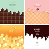 Different melted textures set. Cream on the chocolate bar, ice-cream on the wafer, honey on the honeycomb. Cute design with sample text. vector