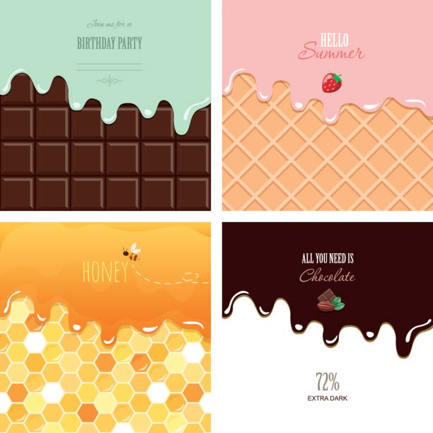 illustrazioni stock, clip art, cartoni animati e icone di tendenza di different melted textures set. cream on the chocolate bar, ice-cream on the wafer, honey on the honeycomb. cute design with sample text. - miele dolci