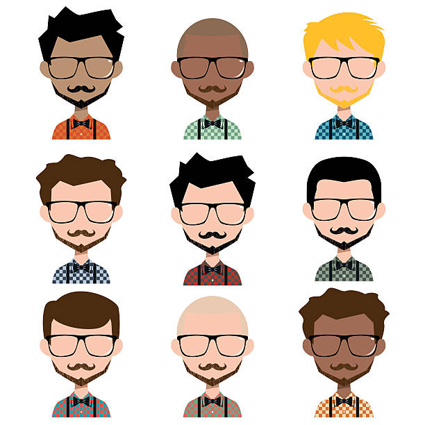 different men hipster avatar - plaid shirt stock illustrations