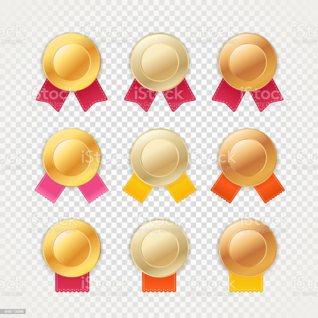 Different metal medals with color ribbons vector art illustration