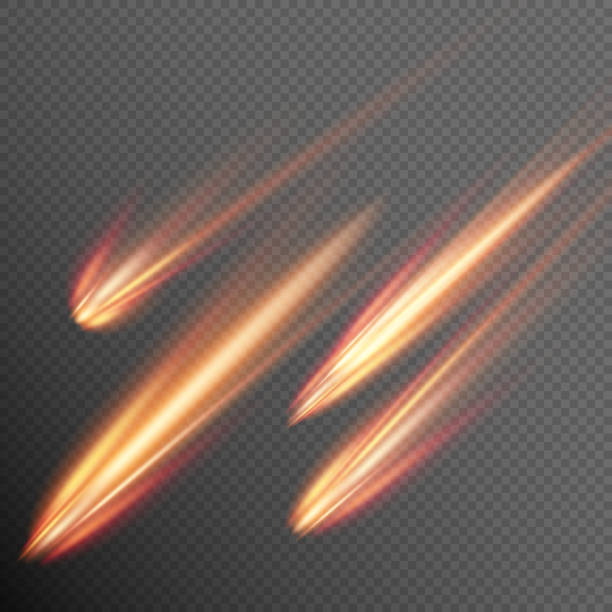 Different meteors, comets and fireballs. EPS 10 vector art illustration