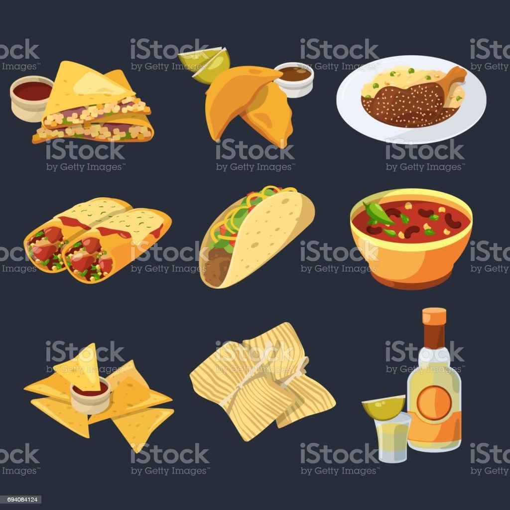 Verschiedene Mexikanische Lebensmittel Im Cartoonstil Traditionelle ...