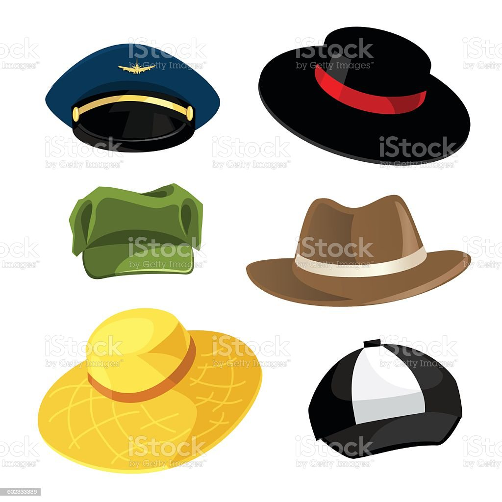 Different model of hat and cap vector art illustration