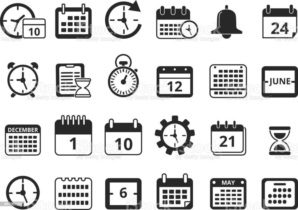 Different Monochrome Symbols Of Time Management Vector Icon Set
