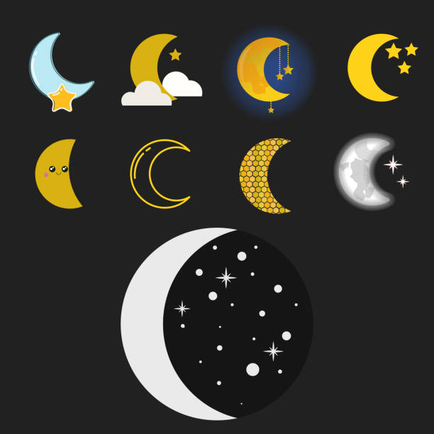 不同的月亮自然宇宙週期衛星表面的整個週期,從新的星形向量圖 - 新月 幅插畫檔、美工圖案、卡通及圖標