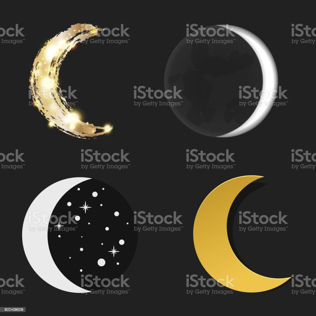 Different moon nature cosmos cycle satellite surface whole cycle from new star vector illustration