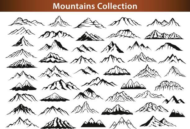 different mountain ranges silhouette collection set different mountain ranges silhouette collection set rocky coastline stock illustrations