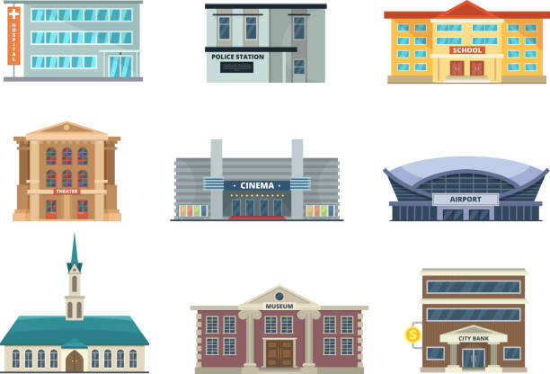 Different municipal buildings. Police station, school, hospital. Bank, business center and others. Vector pictures in cartoon style Different municipal buildings. Police station, school, hospital. Bank, business center and others. Vector pictures in cartoon style. Illustration of building architecture urban collection airport clipart stock illustrations