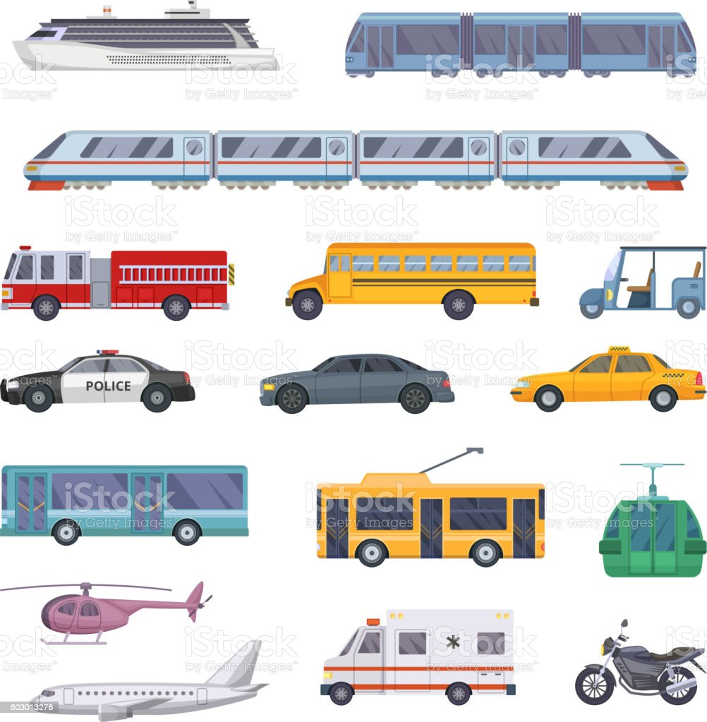 Different municipal transportation set. Vector illustrations of cars vector art illustration