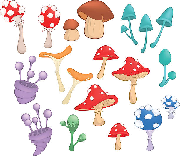 bildbanksillustrationer, clip art samt tecknat material och ikoner med different mushrooms for computer game and you design - höst plocka svamp