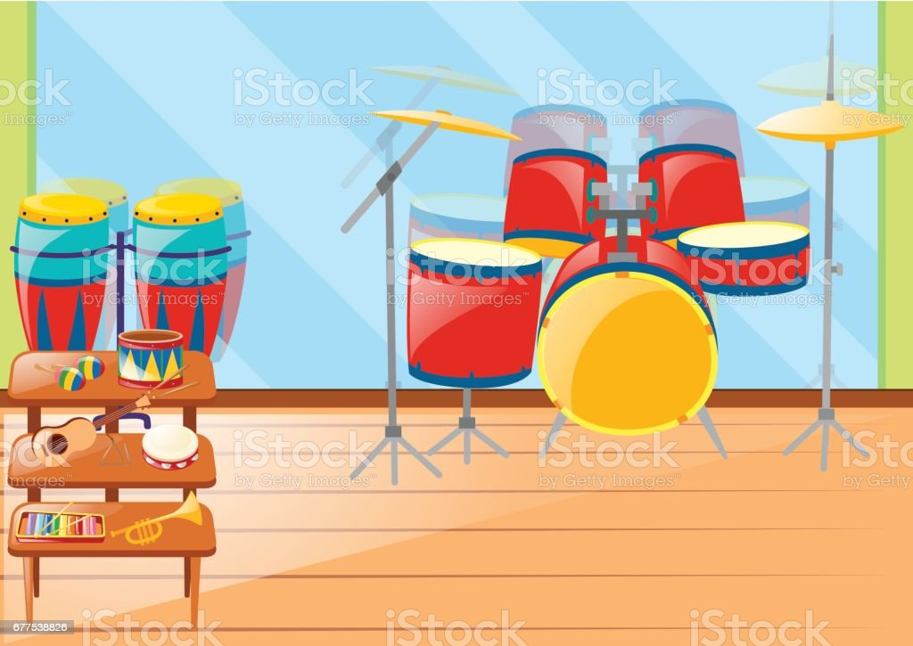 Different musical instruements in room royalty-free different musical instruements in room stock vector art & more images of art