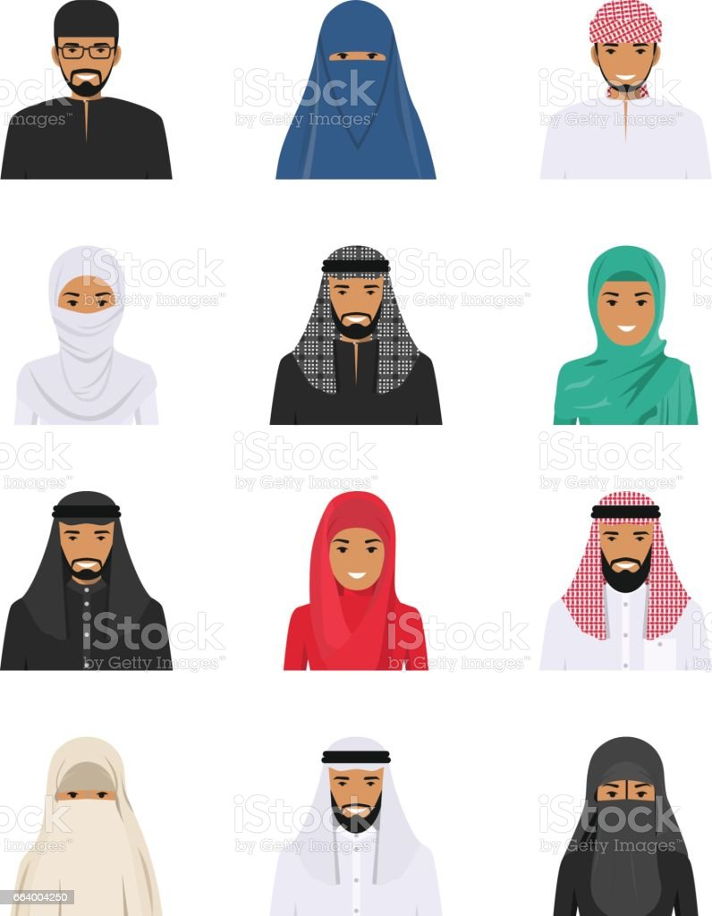 Different muslim arab people characters avatars icons set in flat style isolated on white background. Differences islamic saudi arabic ethnic persons smiling faces in traditional clothing. Vector. vector art illustration