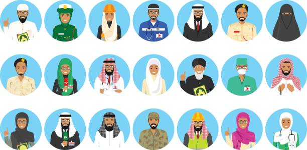 Different muslim Middle East people professions occupation characters avatars icons set in flat style isolated on blue background. Differences islamic saudi arabic persons smiling faces. Vector illustration. Set of colorful different Middle East people occupation characters in flat style icons. Vector illustration. police interview stock illustrations