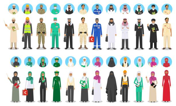 Different muslim Middle Eastern people occupation characters set in flat style. Professions of men and women. Set of avatars icons. Templates for infographic, sites, banners, social networks. Vector. vector art illustration