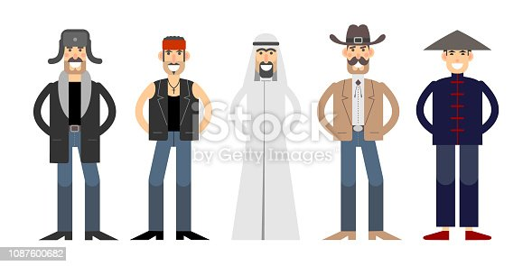Different nationalities characters set. Bearded Russian in a hat with ear flaps, Arab in keffiyeh, American in a cowboy hat, Mexican in a bandanna and Chinese in traditional costume and sedge hat