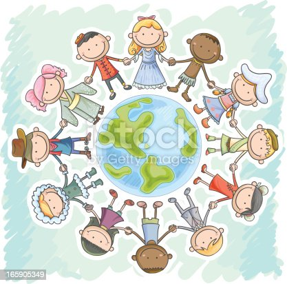 istock Different nationality kids holding hands, standing around the earth 165905349