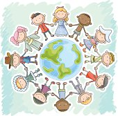 Kids from different nationality holding hands and standing around the earth, in colourful cartoon illustration