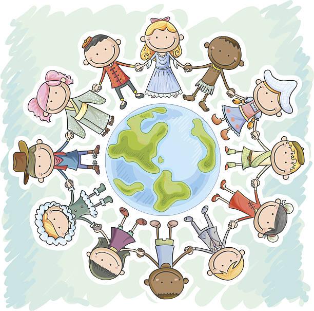 の異なる国籍を持つ手、お子様に立つアース - 漫画の子供たち点のイラスト素材/クリップアート素材/マンガ素材/アイコン素材