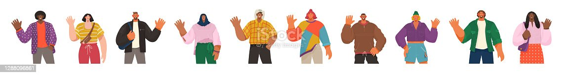 People from different countries saying hi and greeting. Man and woman waving hands and gesturing in friendly way. Cheerful characters representing various nations around world, speakers say hello