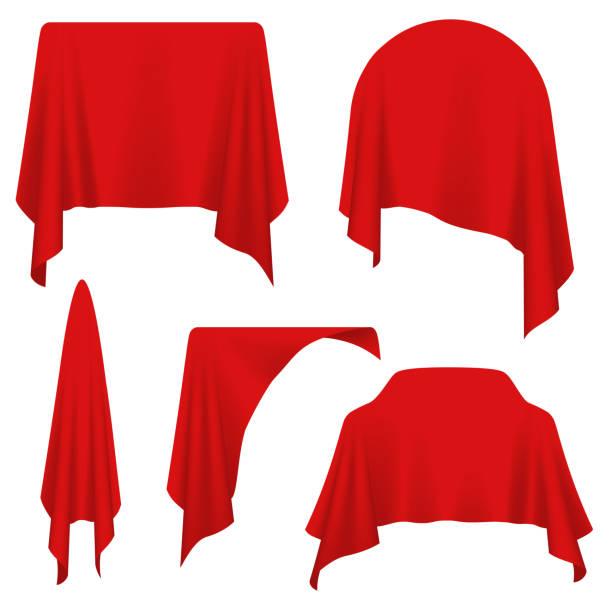 verschiedene objekte mit rotem tuch bedeckt - entdeckungskiste stock-grafiken, -clipart, -cartoons und -symbole