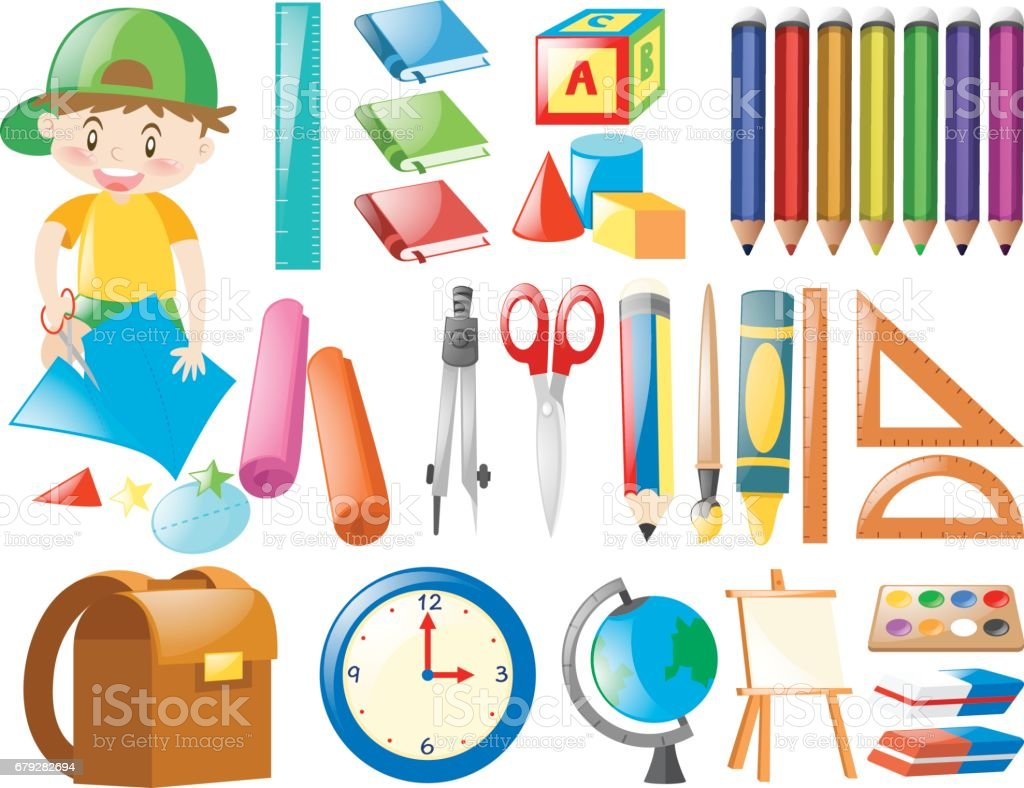 Différents objets pour l'école différents objets pour lécole – cliparts vectoriels et plus d'images de art libre de droits