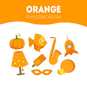 Different Objects in Orange Color, Fun Educational Game for Preschool Kids Vector Illustration, Web Design.