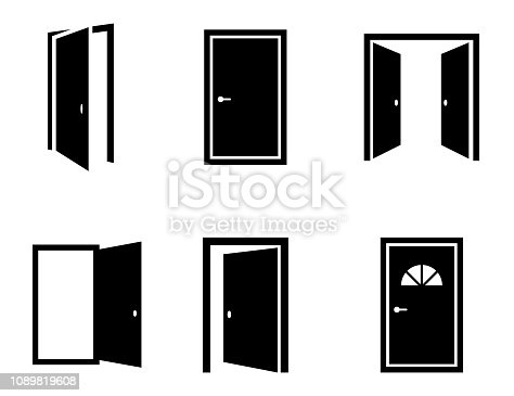 Different opened doors icons set. Vector illustration