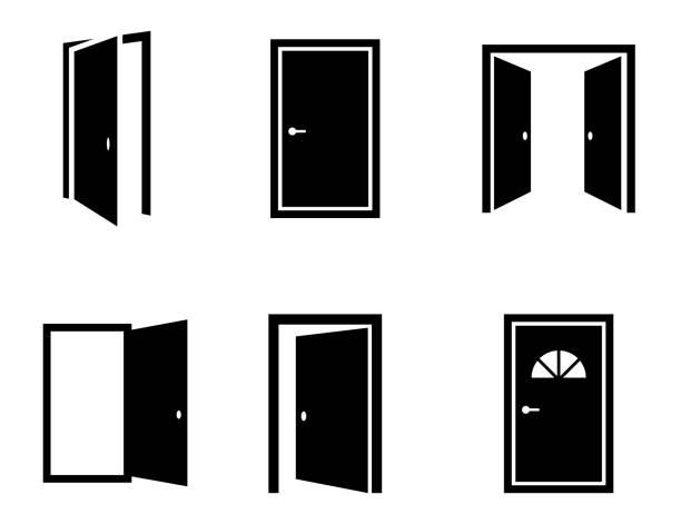 verschiedenen geöffneten türen symbole festgelegt. vektor - offen allgemeine beschaffenheit stock-grafiken, -clipart, -cartoons und -symbole