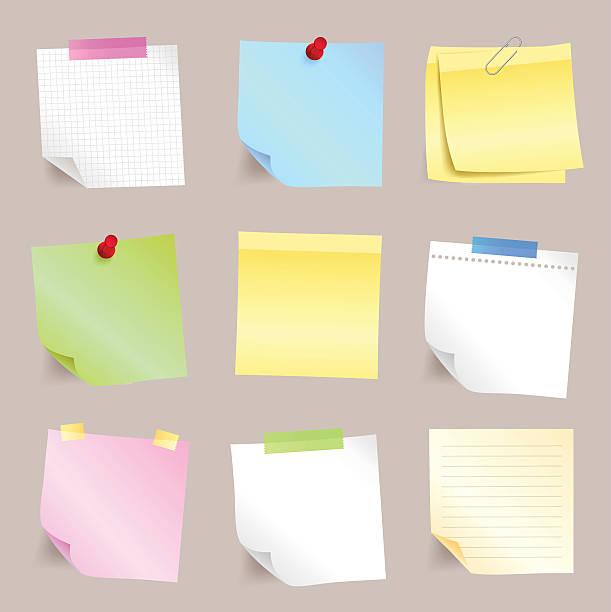 Different paper note set vector art illustration