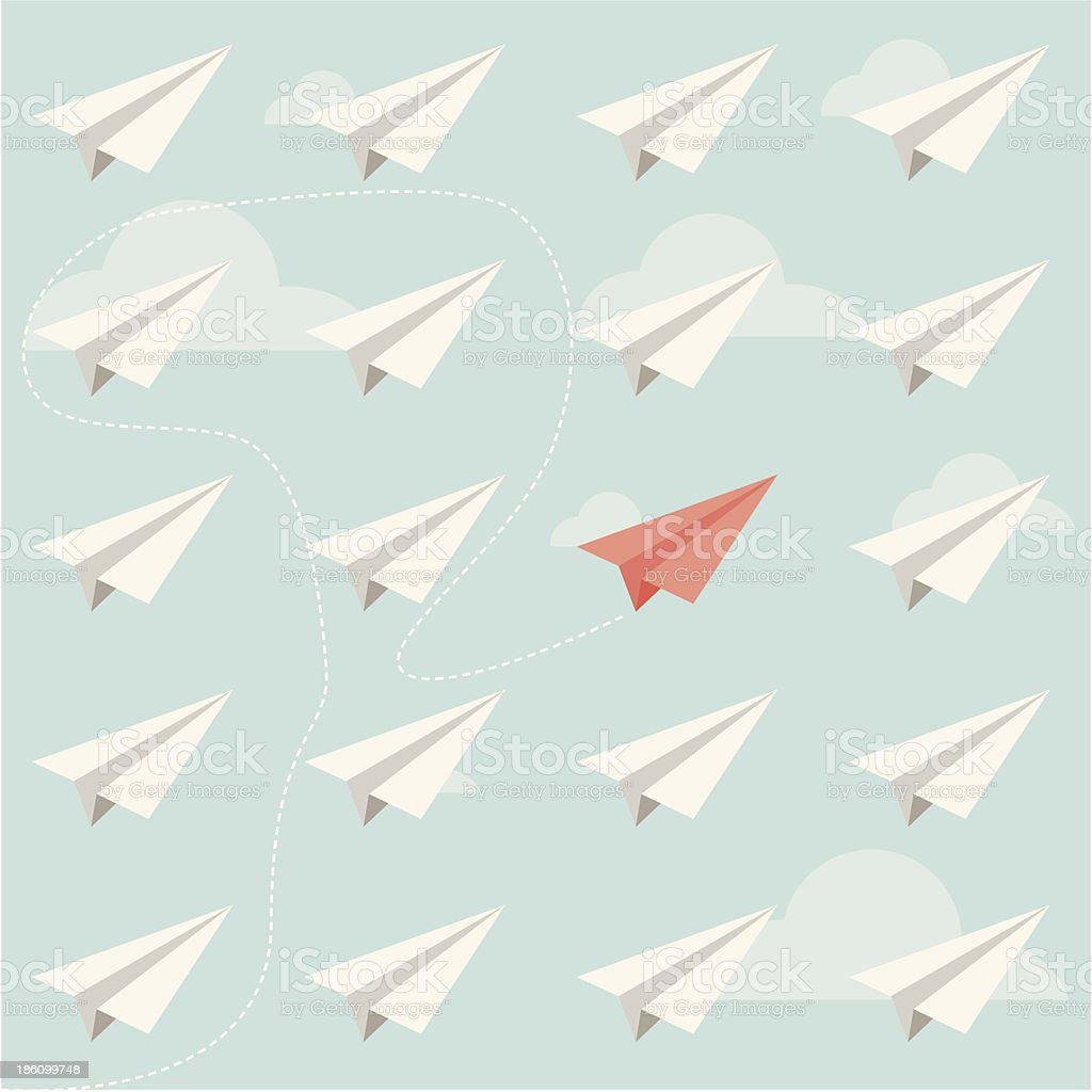 different paper plane royalty-free stock vector art