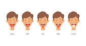 istock Different Parts of the Tongue, Man tongue taste areas, Design on white background 1241630791