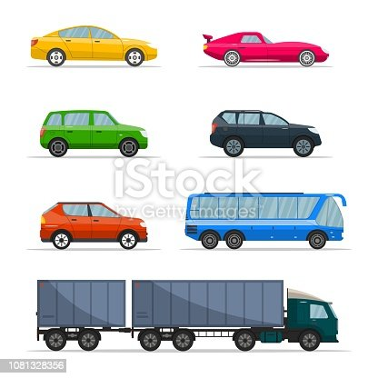 Different passenger car vector. Urban, city cars and vehicles transport vector flat icons set. Retro car icon set isolated illustration on a white background.
