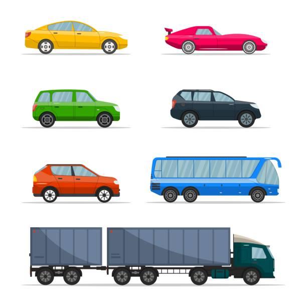 illustrazioni stock, clip art, cartoni animati e icone di tendenza di diverso vettore di autovetture. urban, city car e veicoli trasportano icone piatte vettoriali impostate. set di icone dell'auto retrò - auto