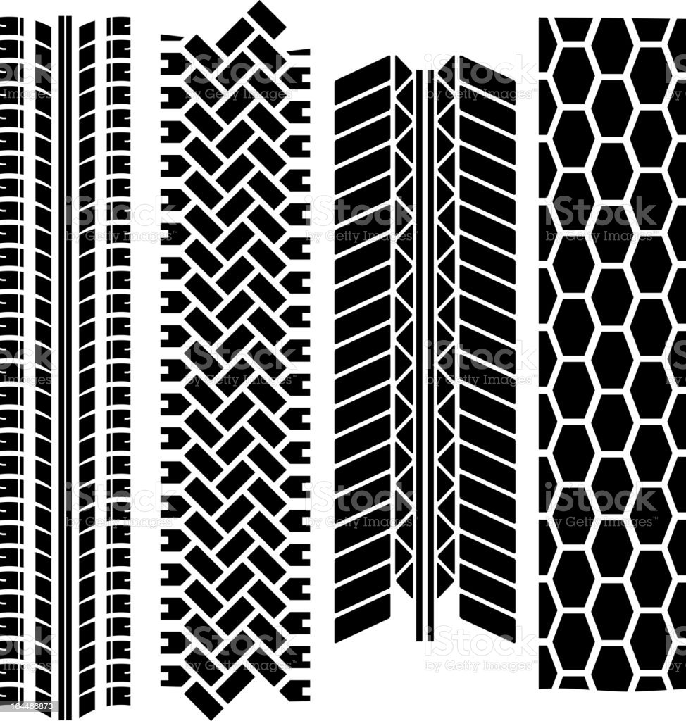 Different patterned tire tracks royalty-free stock vector art