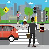 Different pedestrians in a crosswalk,