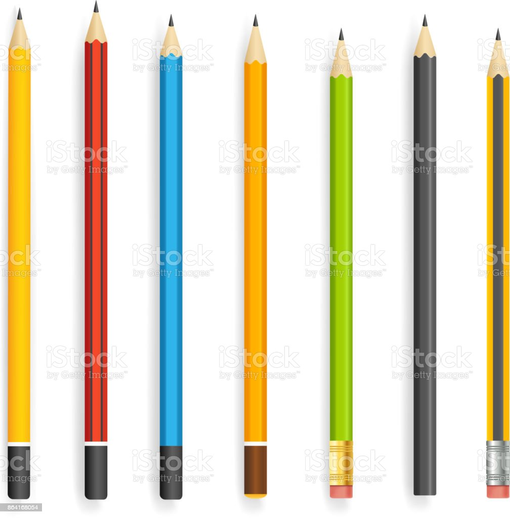 Different pencils vector collection isolated on white royalty-free different pencils vector collection isolated on white stock vector art & more images of art