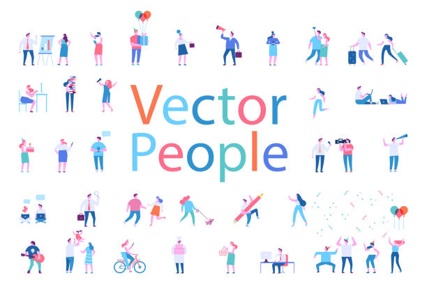 stockillustraties, clipart, cartoons en iconen met verschillende personen personages grote vector set. - in de camera kijken