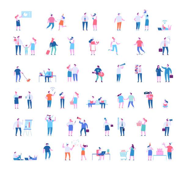 bildbanksillustrationer, clip art samt tecknat material och ikoner med olika människor tecken stora vektor set. - parent talking to child
