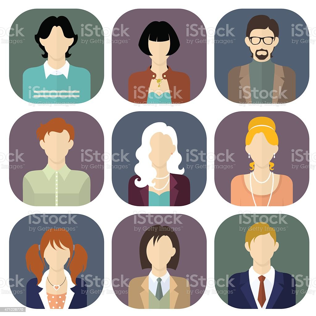 Different people icons set in flat style vector art illustration