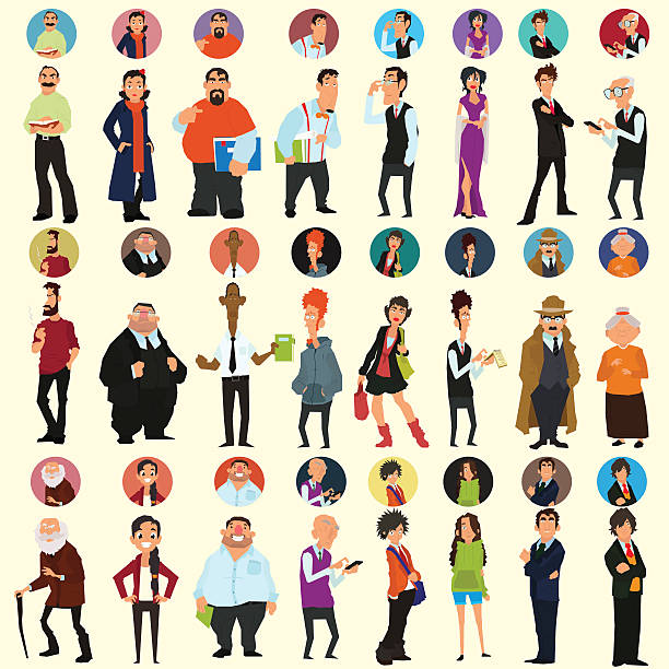 stockillustraties, clipart, cartoons en iconen met different people in full-length and different poses - in de camera kijken