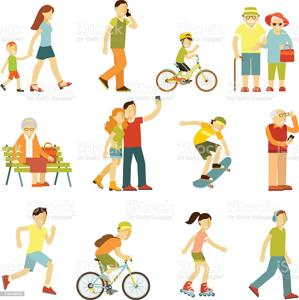 Different people in outdoors physical activity vector art illustration